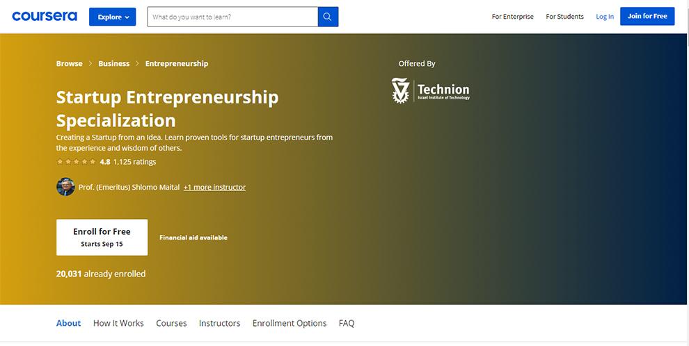 Startup Entrepreneurship Specialization