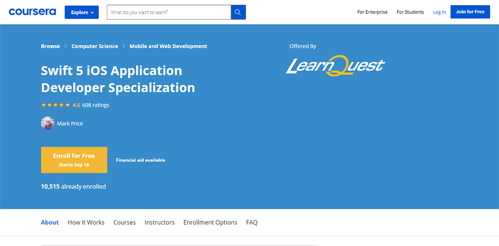 Swift 5 iOS Application Developer Specialization