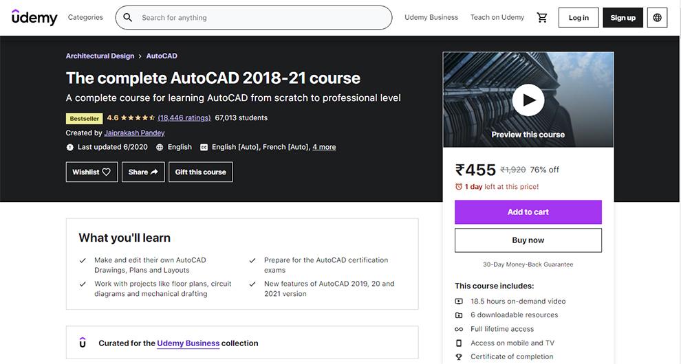 The complete AutoCAD 2018-21 course