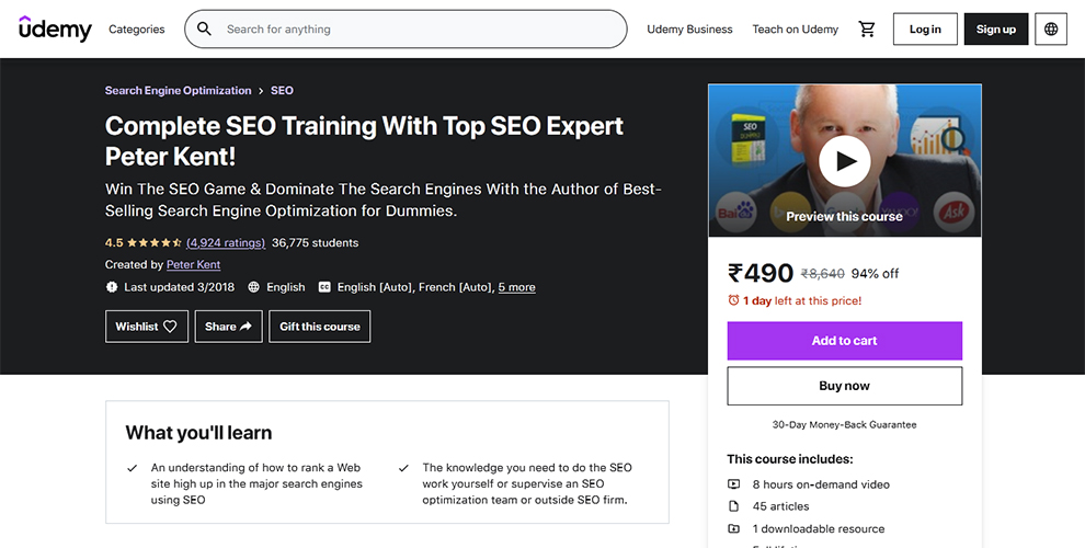 Complete SEO Training With Top SEO Expert Peter Kent