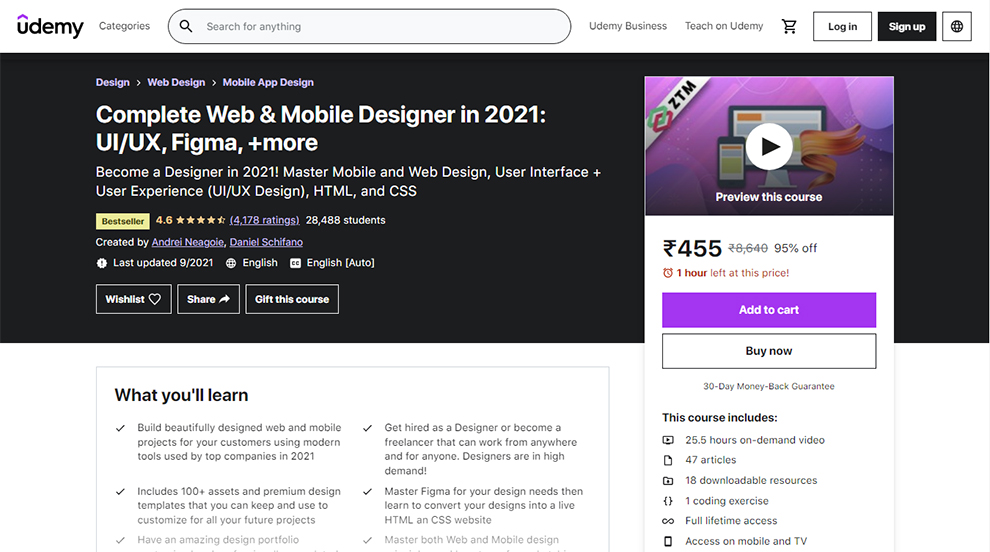 Complete Web & Mobile Designer in 2021: UI/UX, Figma