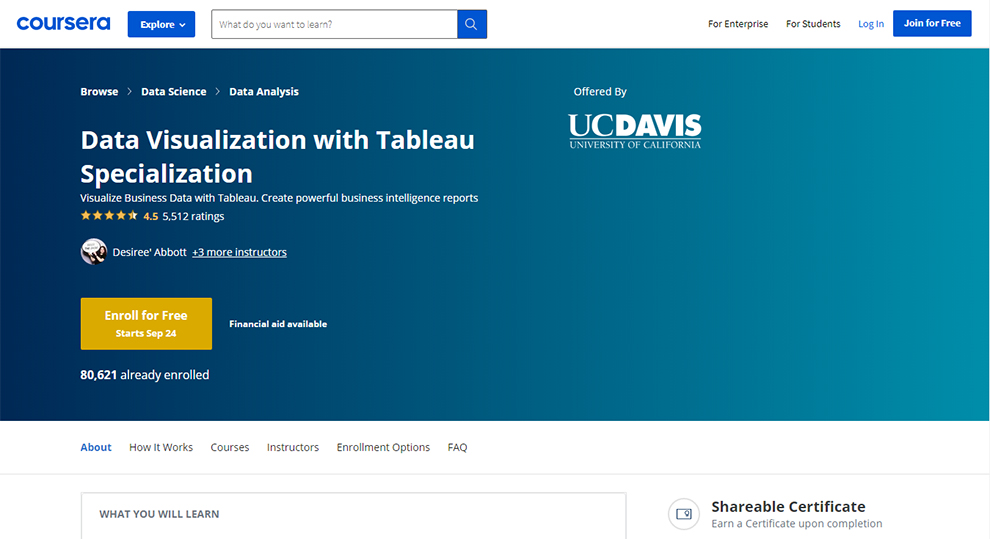 Data Visualization with Tableau Specialization - Offered by University of California