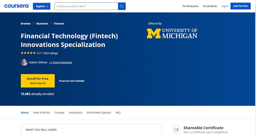 Financial Technology (FinTech) Innovations Specialization (University of Michigan)