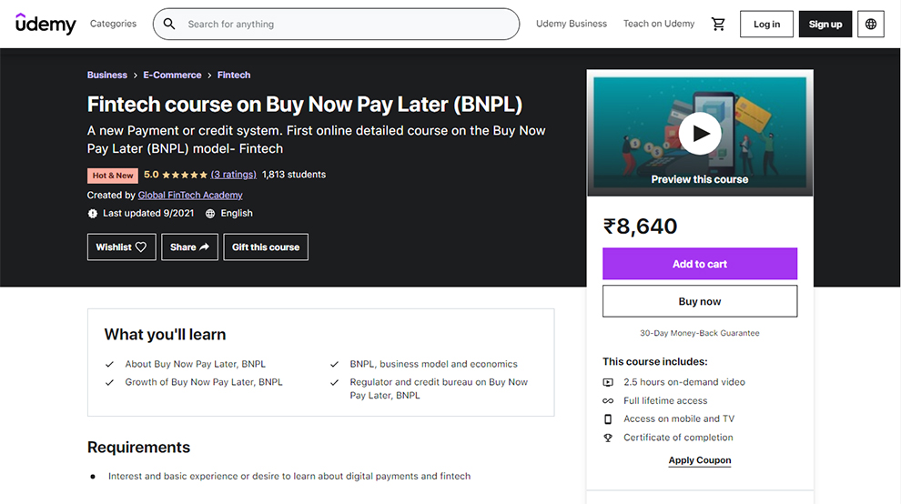 FinTech Course on Buy Now Pay Later