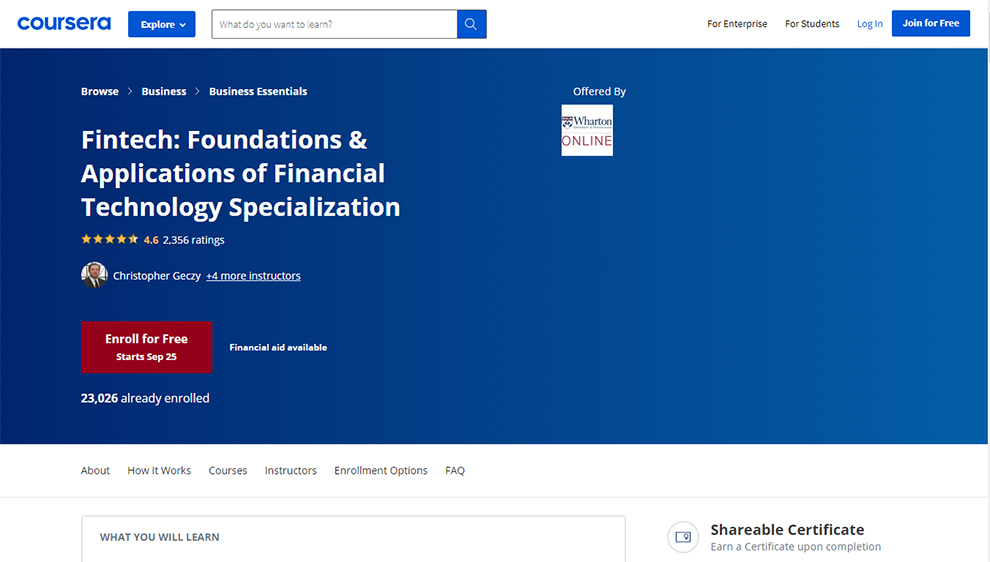FinTech: Foundations & Applications of Financial Technology specialization by Wharton School