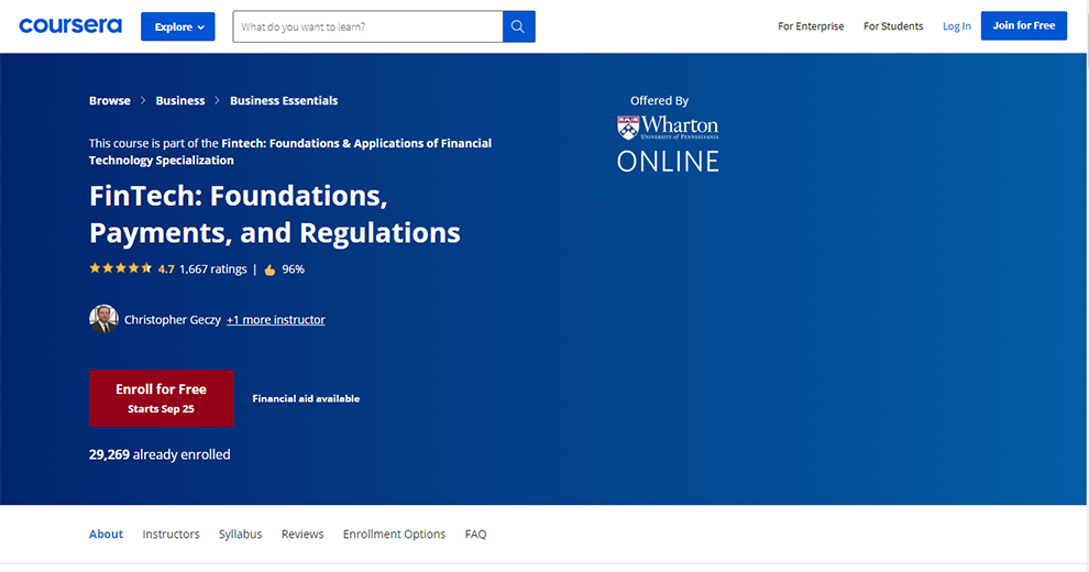 FinTech: Foundations, Payments, and Regulations by Wharton School