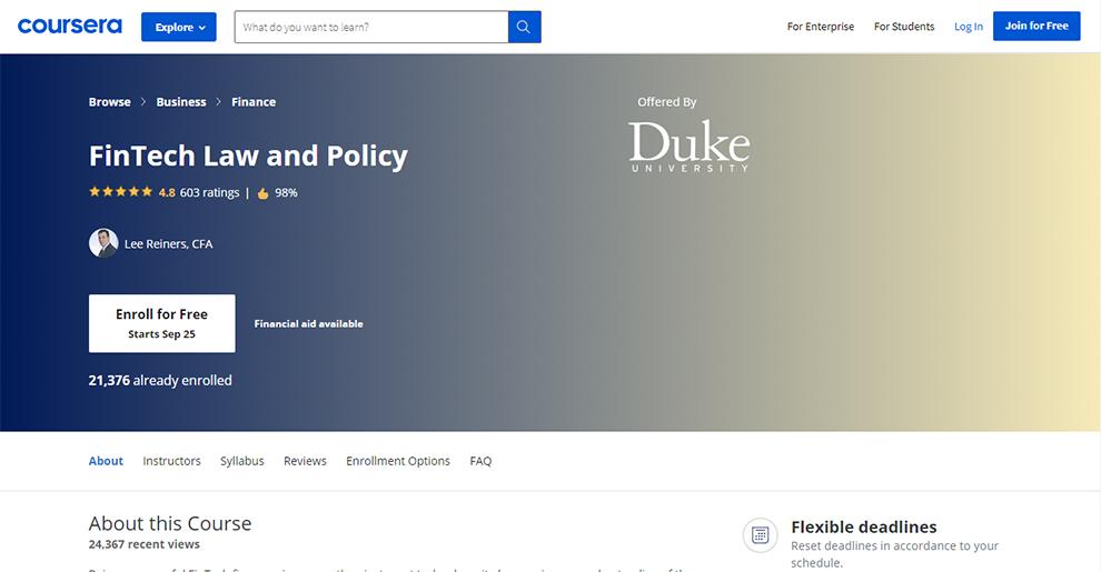 FinTech Law & Policy (Duke University)