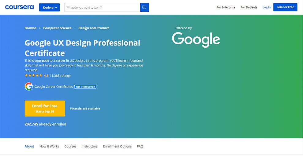 Google UX Design Professional Certificate by Google