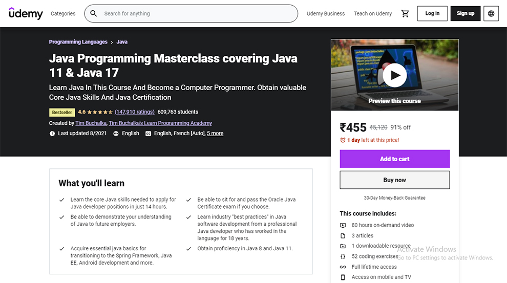 Java Programming Masterclass covering Java 11 & Java 17