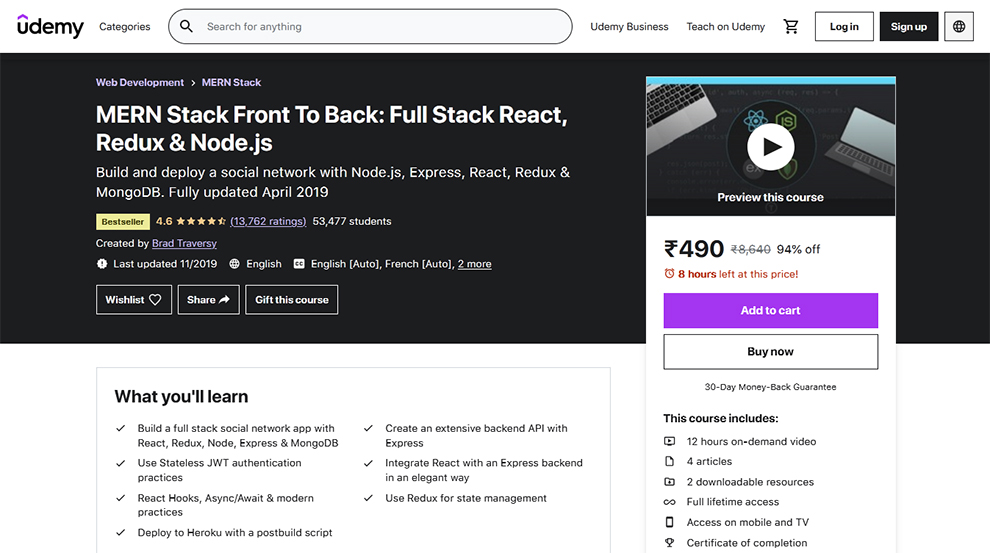 MERN Stack Front To Back: Full Stack React, Redux