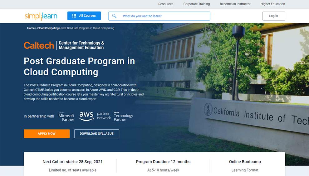 Post Graduate Program in Cloud Computing