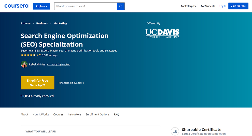 Search Engine Optimization (SEO) Specialization Offered by University of California, Davis