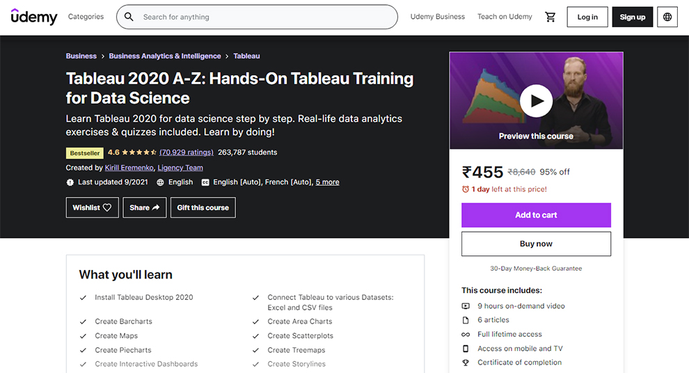 Tableau 2020 A-Z: Hands-On Tableau Training for Data Science