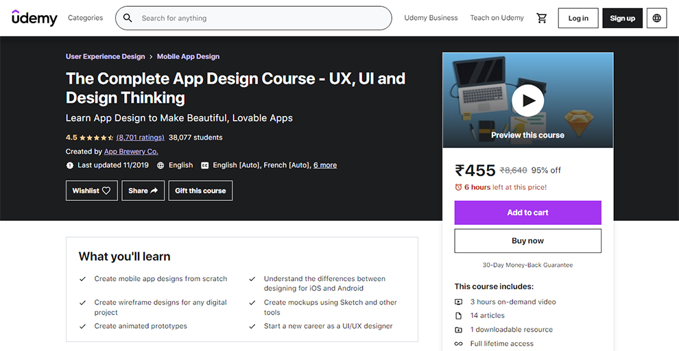 The Complete App Design Course – UX, UI and Design Thinking