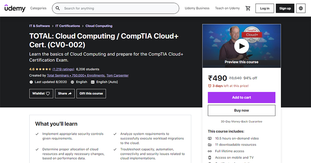 TOTAL: Cloud Computing / CompTIA Cloud+ Cert
