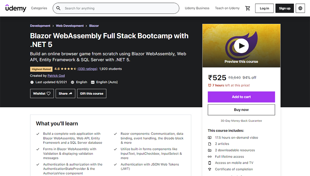 Blazor Web Assembly Full Stack Bootcamp with .NET 5