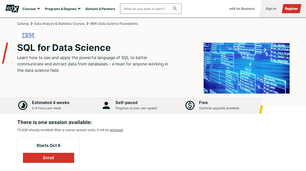 edX SQL for Data Science Course by IBM