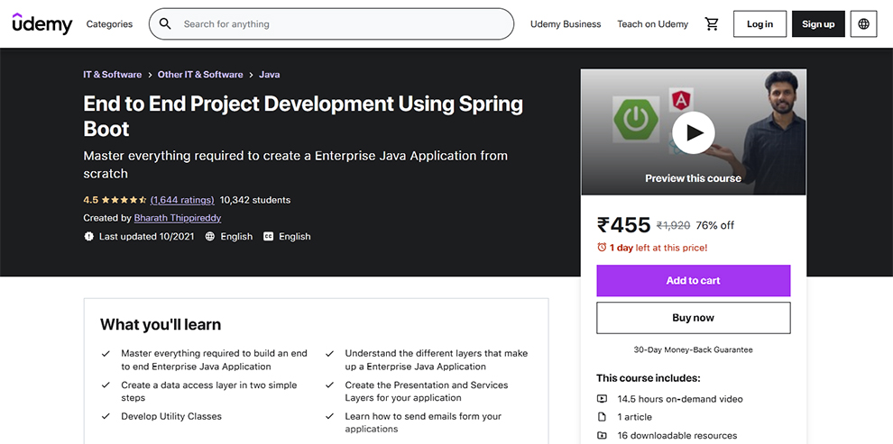 End to End Project Development Using Spring Boot