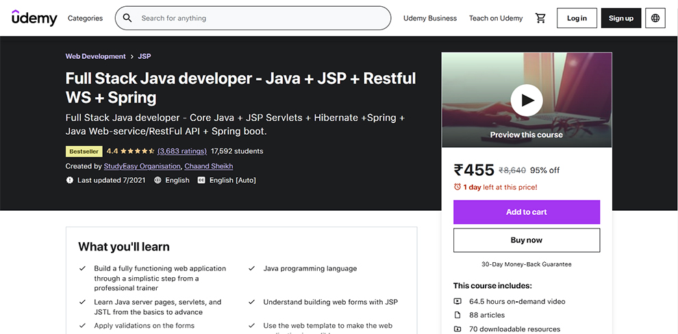 Full Stack Java Developer – Java + JSP + Restful WS + Spring