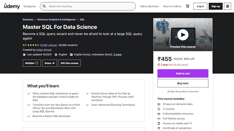 Master SQL for Data Science