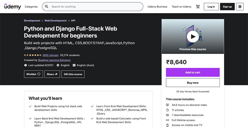 Python and Django Full-Stack Web Development for beginners