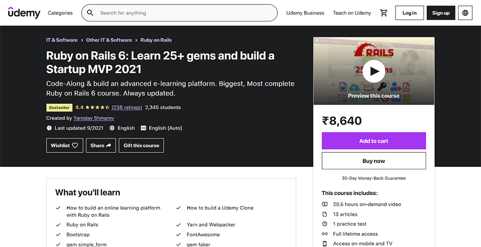 Ruby on Rails 6: Learn 25+ gems and build a Startup MVP 2021