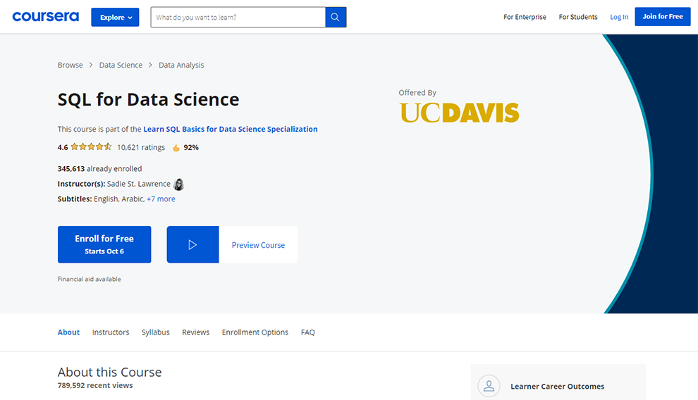 SQL for Data Science by UC Davis